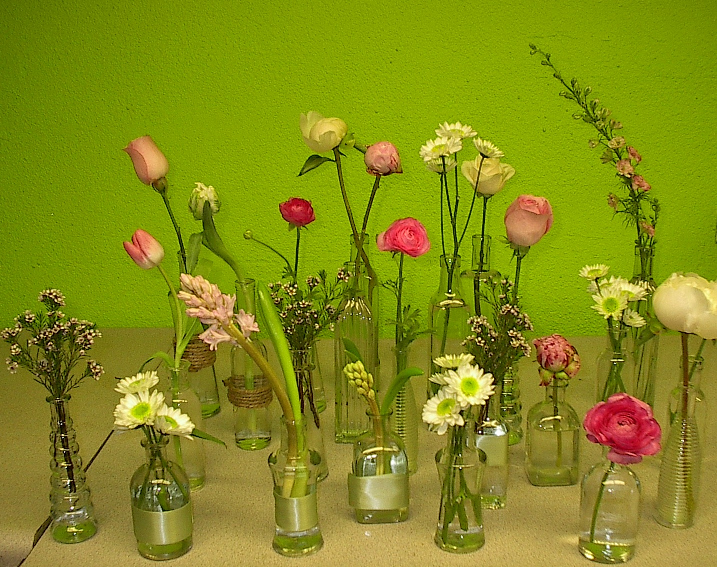 Vintage vases, single flower simplicity